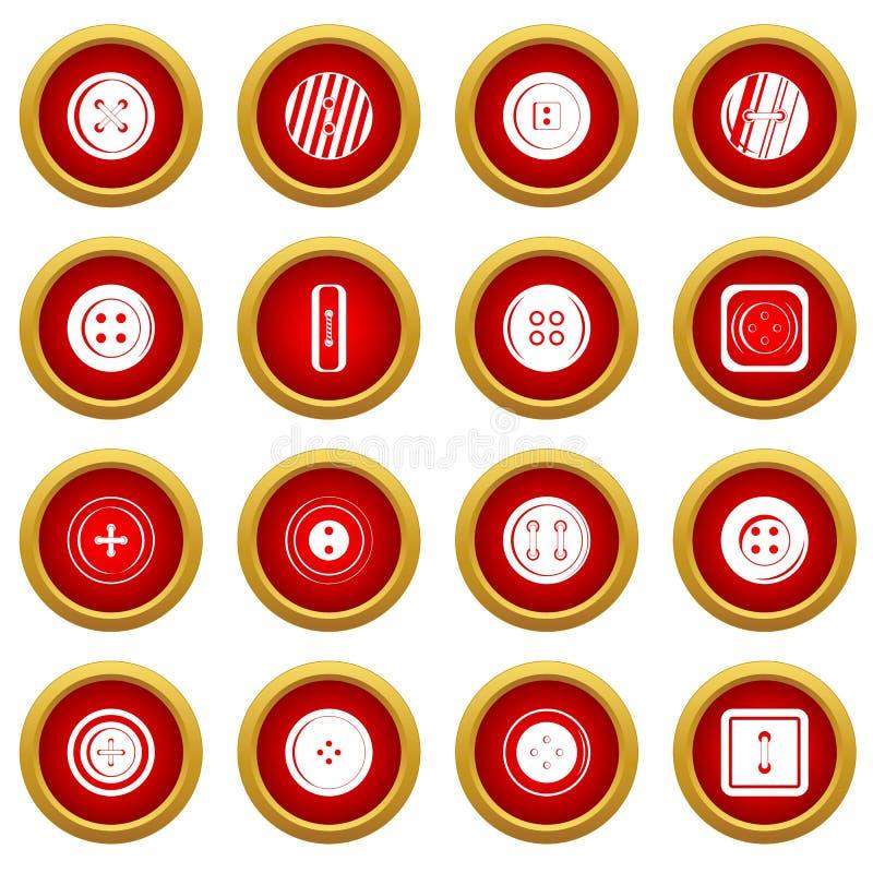 Sistema rojo del círculo del icono del botón de la ropa ilustración del vector