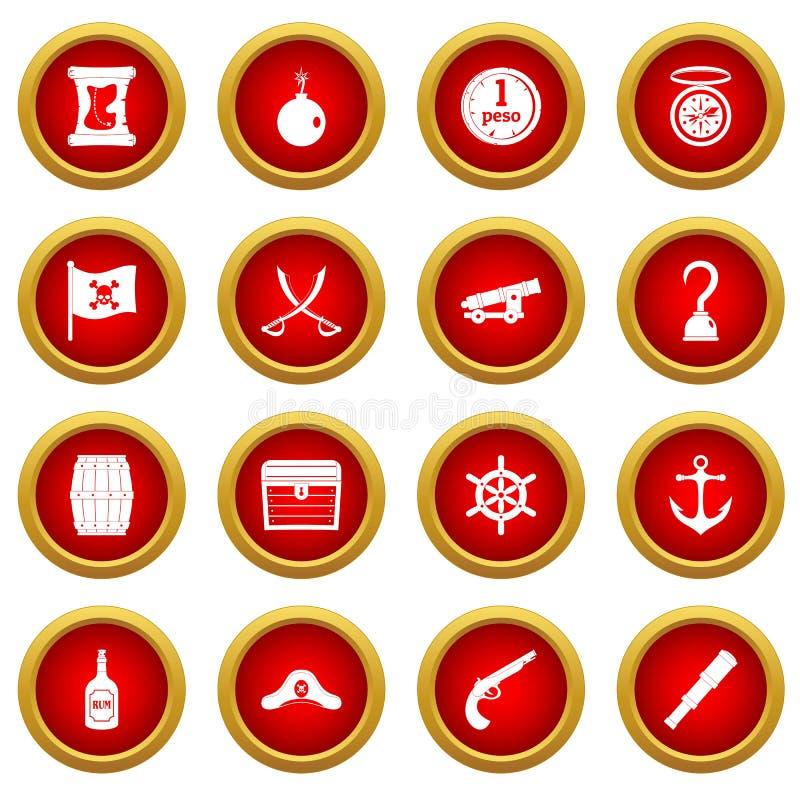 Sistema rojo del círculo del icono del pirata ilustración del vector