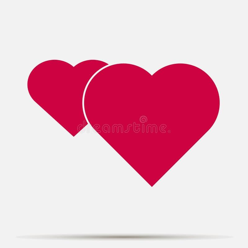 Sistema rojo del corazón del icono del vector en fondo gris Capas agrupadas para el ejemplo que corrige fácil ilustración del vector
