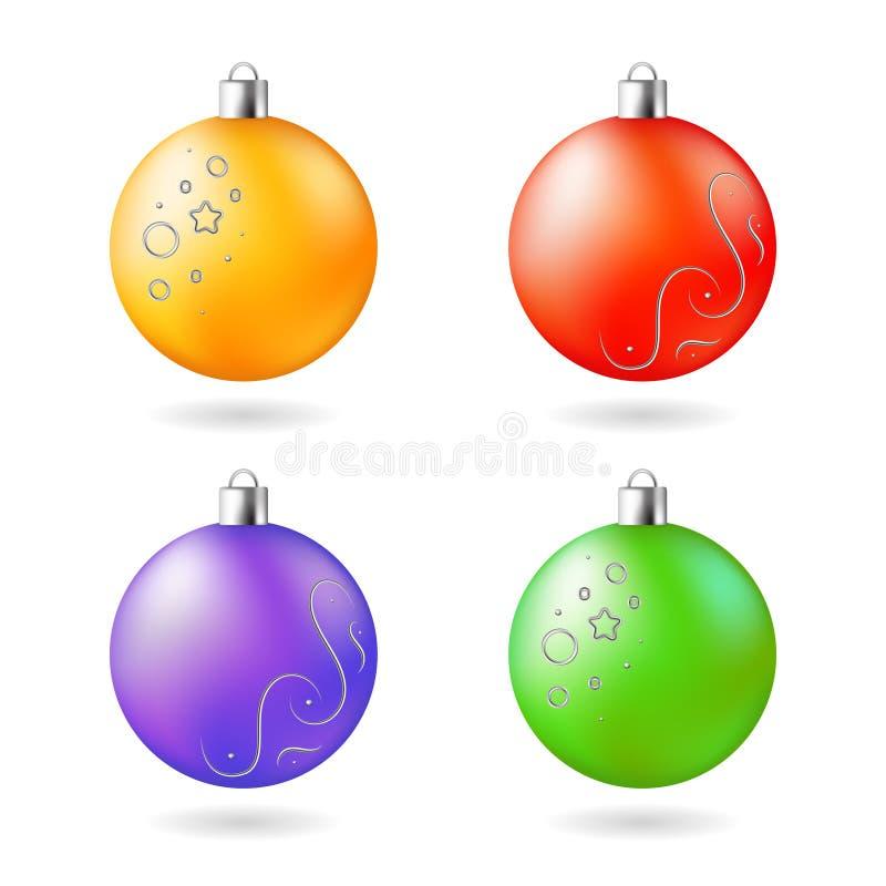 Sistema rojo verde púrpura anaranjado de las bolas de la decoración de la Navidad ilustración del vector