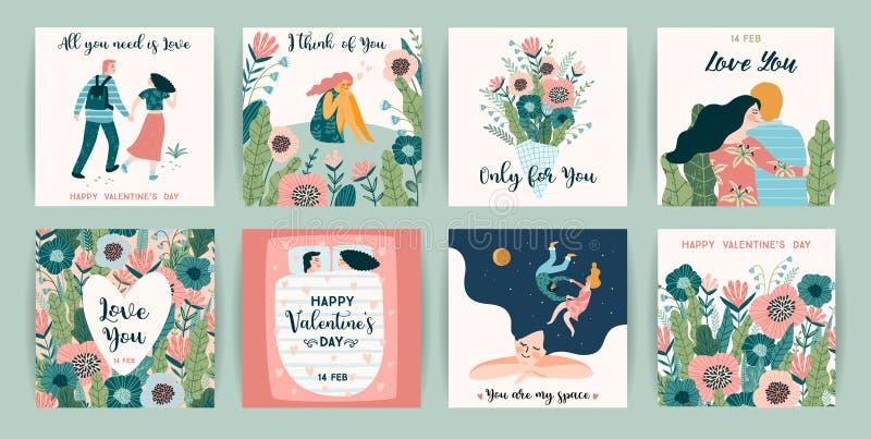Sistema romántico de ejemplos lindos Concepto de diseño del vector para día de San Valentín y otros usuarios stock de ilustración