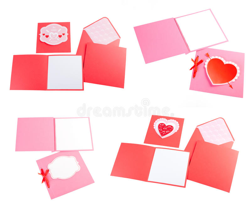 Sistema romántico del diseño Para ser utilizado para las postales, invitaciones, tarjeta fotografía de archivo