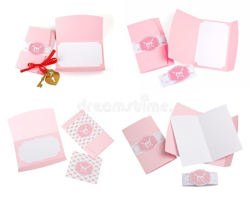Sistema romántico del diseño Para ser utilizado para las postales, invitaciones, tarjeta foto de archivo libre de regalías