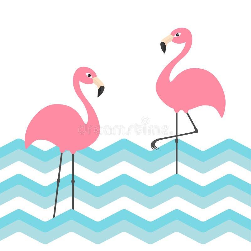 Sistema rosado del flamenco dos Onda azul del zigzag del agua del océano del mar Pájaro tropical exótico Colección del animal del stock de ilustración