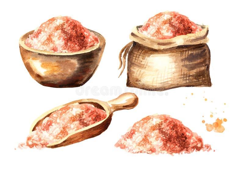 Sistema rosado Himalayan de la sal Ejemplo dibujado mano de la acuarela aislado en el fondo blanco libre illustration