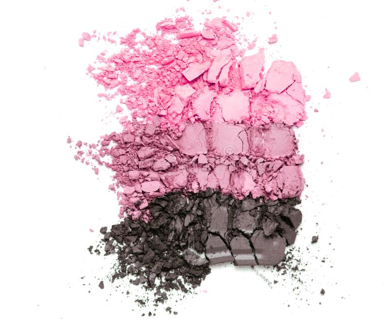 Sistema rosado roto de la sombra de ojos de la pendiente aislado en el fondo blanco fotos de archivo libres de regalías