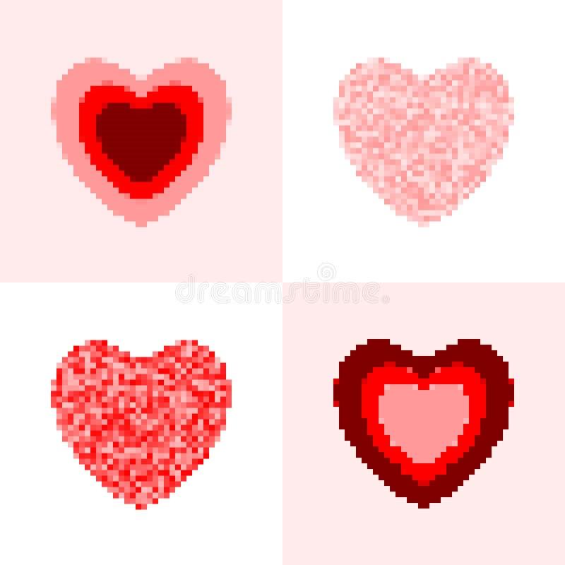 Sistema rosado y rojo del corazón del pixel Símbolos aislados vector del corazón libre illustration