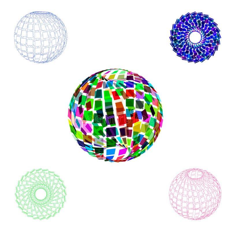 Sistema roto poligonal abstracto de la esfera illustr colorido del vector 3d libre illustration