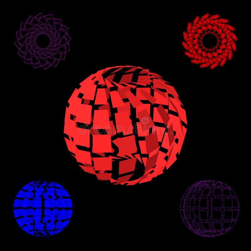 Sistema roto poligonal abstracto de la esfera ilustración del vector 3d ilustración del vector