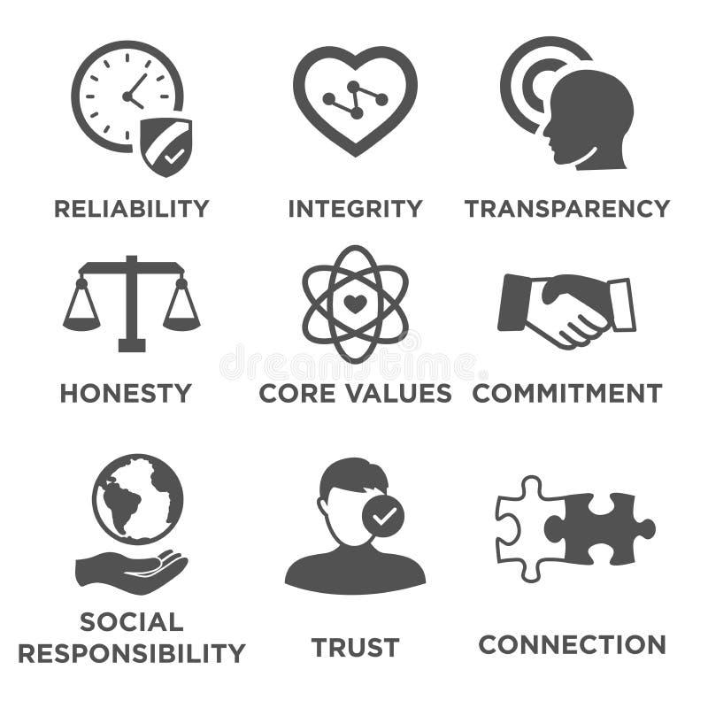 Sistema sólido del icono de la ética empresarial ilustración del vector