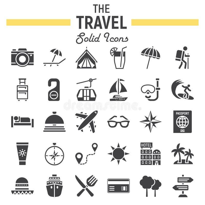 Sistema sólido del icono del viaje, colección de los símbolos del turismo ilustración del vector