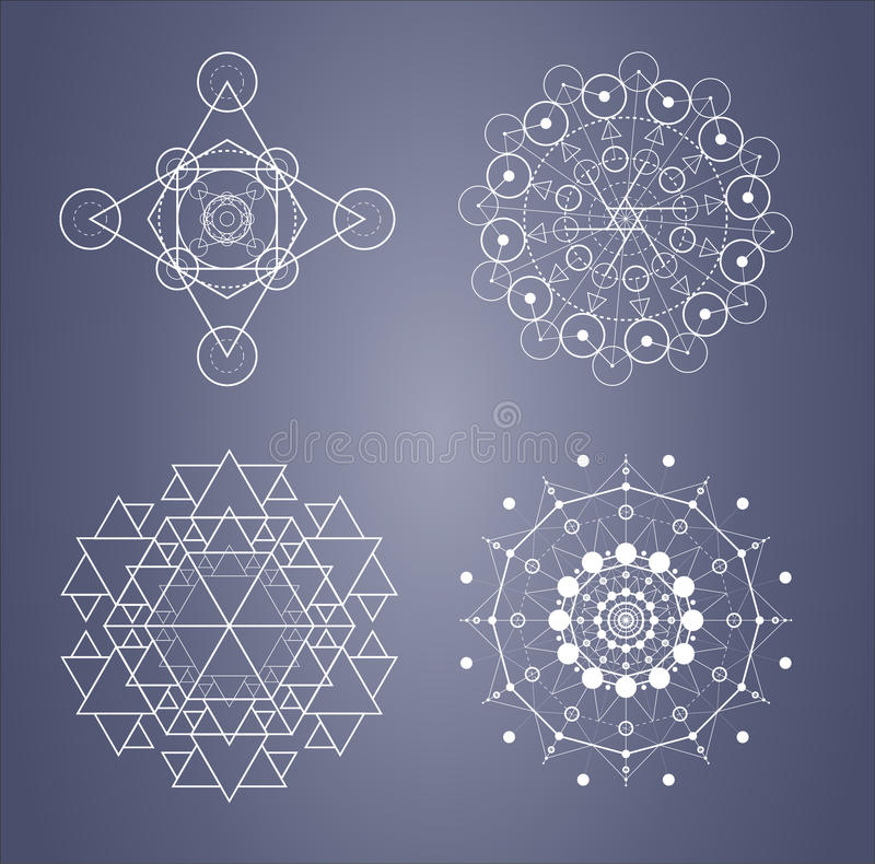 Sistema sagrado de la geometría de símbolos complicados en vector stock de ilustración