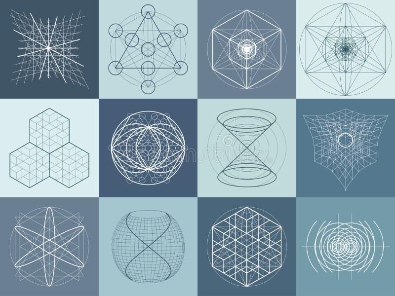 Sistema sagrado de los símbolos y de elementos de la geometría ilustración del vector
