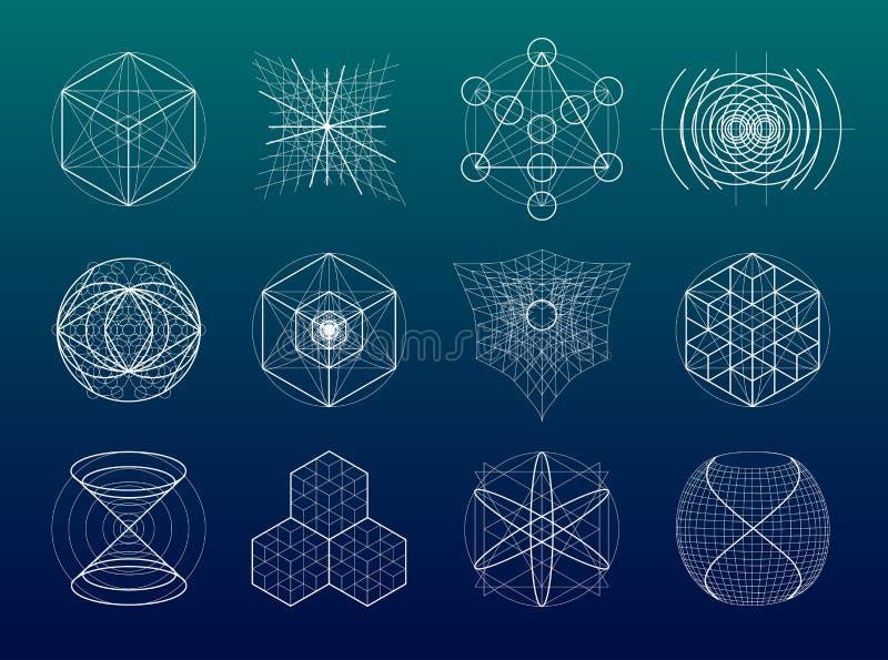 Sistema sagrado de los símbolos y de elementos de la geometría stock de ilustración