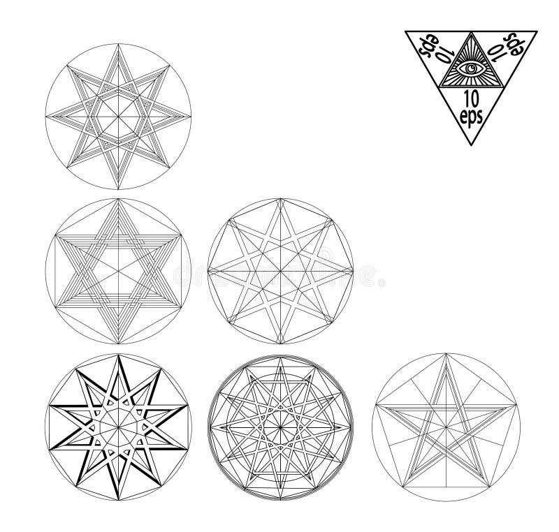 Sistema sagrado determinado del vector de los elementos del extracto de la geometría aislado en el fondo blanco ilustración del vector