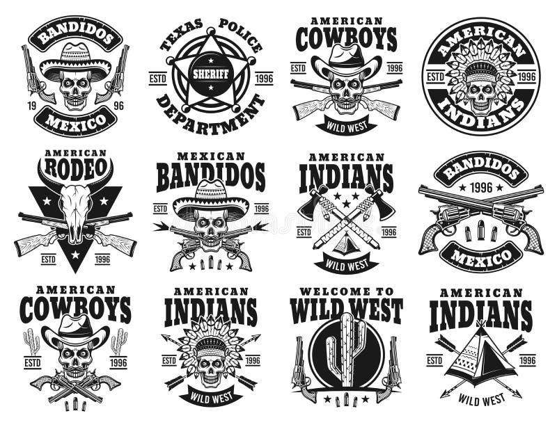 Sistema salvaje del oeste de los emblemas del vector, etiquetas, insignias ilustración del vector