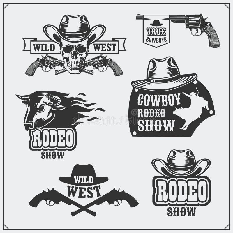 Sistema salvaje del oeste de rodeo, de emblemas del vintage del vaquero, de etiquetas, de insignias y de elementos del diseño stock de ilustración