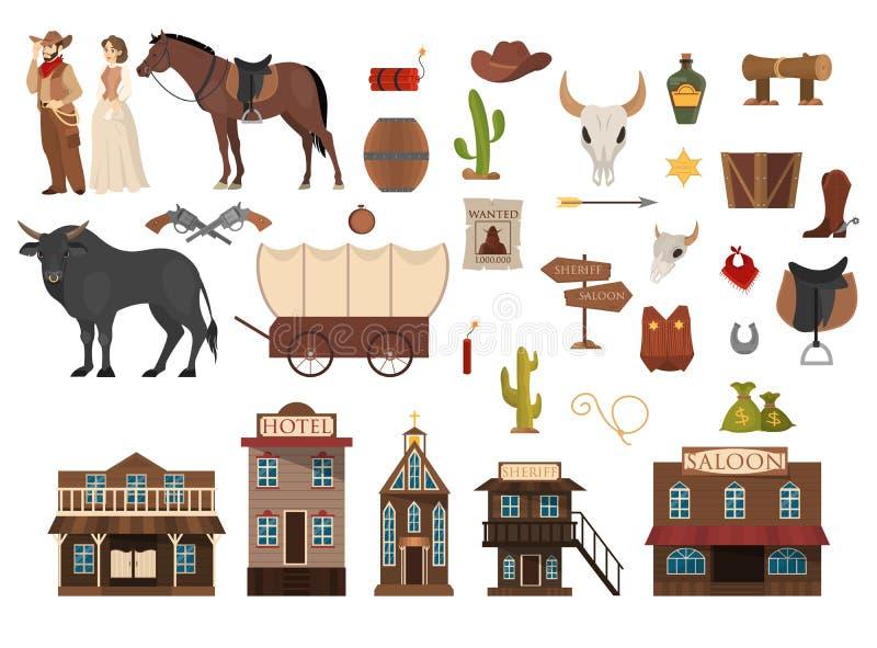 Sistema salvaje del oeste Vaquero, cactus, caballo y vaca salón libre illustration