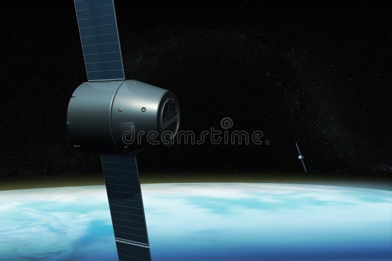 Sistema satélite para GPS que orbita a terra ilustração do vetor