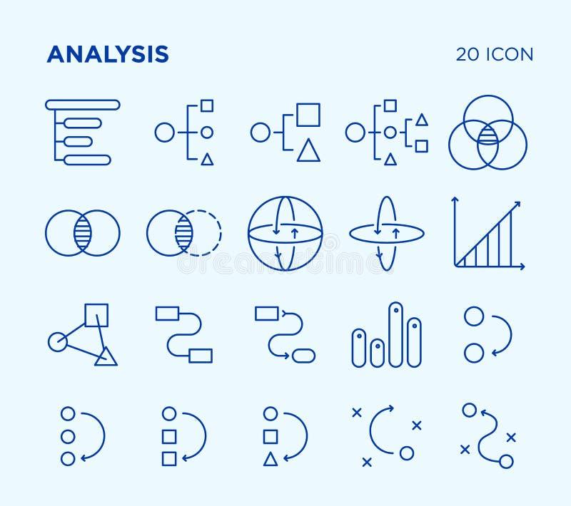 Sistema simple de análisis diagramas Línea iconos del vector fotografía de archivo