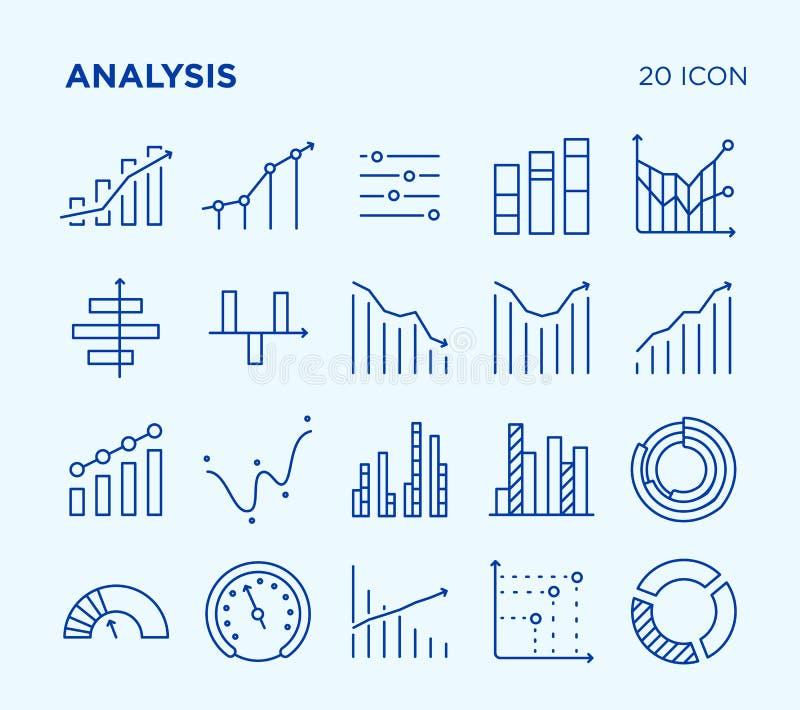 Sistema simple de análisis diagramas Línea iconos del vector imágenes de archivo libres de regalías