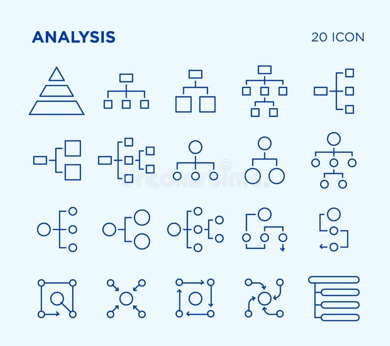 Sistema simple de análisis diagramas Línea iconos del vector libre illustration