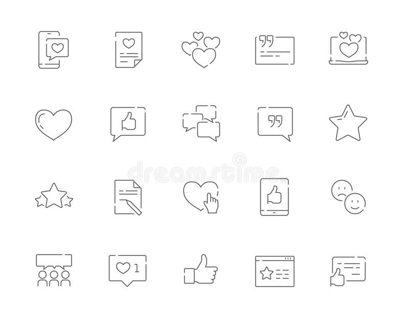 Sistema simple de certificados y y de la línea iconos del vector de la gestión de la relación del cliente del web ilustración del vector