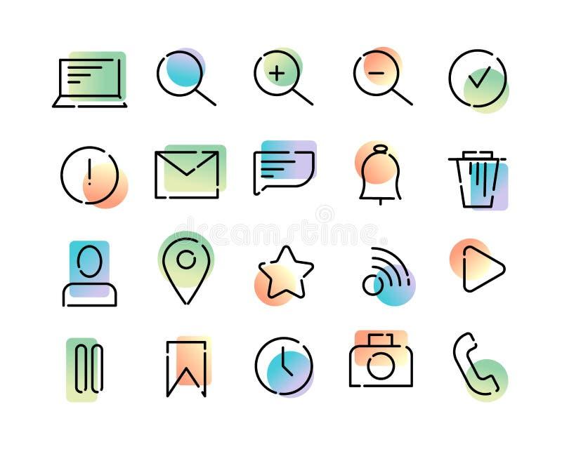 Sistema simple de iconos del vector en el tema de la web y del app Líneas de puntos negras y pendiente moderna colorida en un fon libre illustration