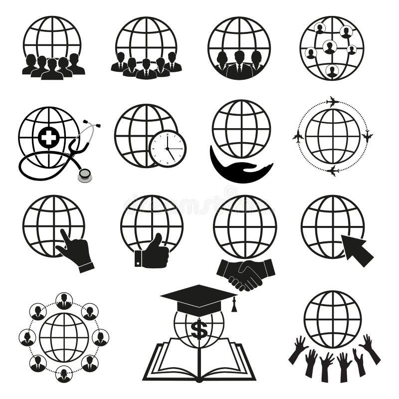 Sistema simple de iconos relacionados del esquema del globo Elementos para los apps móviles del concepto y del web stock de ilustración