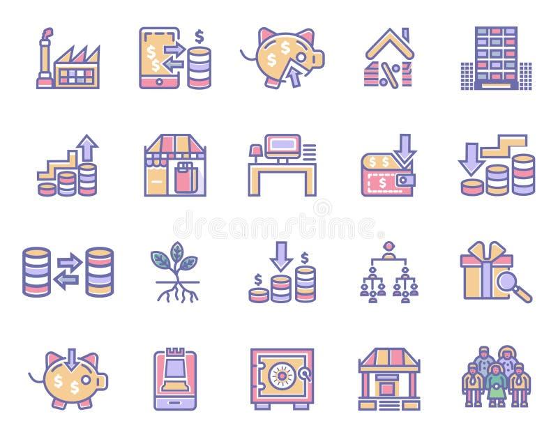 Sistema simple de iconos relacionados del vector de las finanzas del dinero Iconos perfectos del movimiento Editable para los con libre illustration