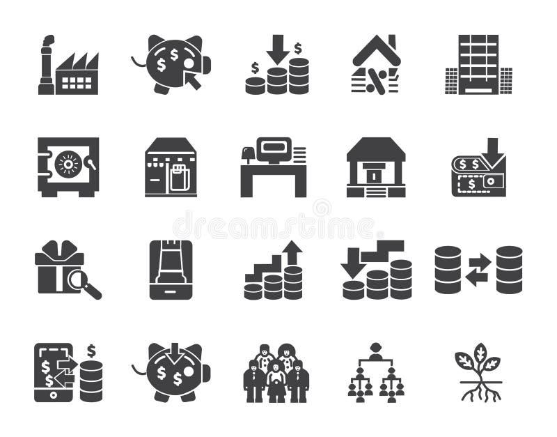 Sistema simple de iconos relacionados del vector de las finanzas del dinero Iconos perfectos del movimiento Editable para los con stock de ilustración