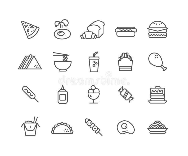 Sistema simple de la línea fina iconos del vector de los alimentos de preparación rápida ilustración del vector
