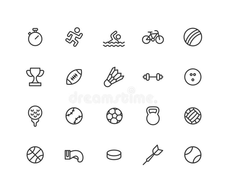 Sistema simple de la línea iconos del vector de los juegos del deporte Contiene los iconos tales como la bola, bicicleta, fútbol, libre illustration