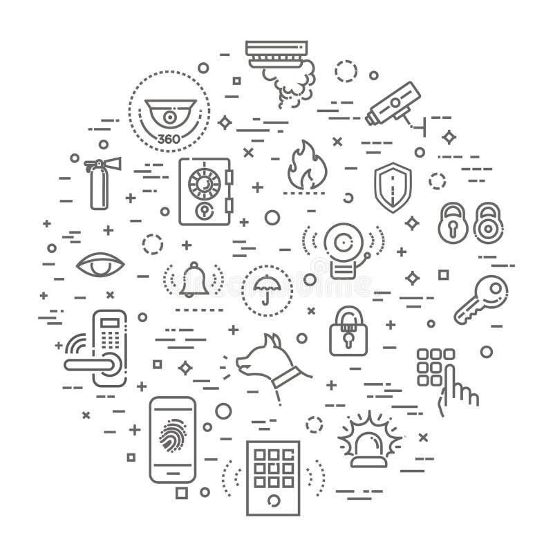 Sistema simple de la línea relacionada con la seguridad casera iconos del vector libre illustration