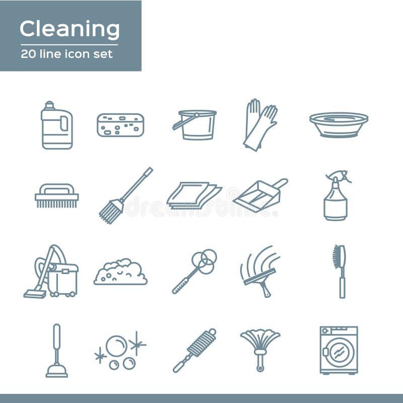 Sistema simple de la línea relacionada de limpieza iconos del vector 20 línea sistema del icono ilustración del vector