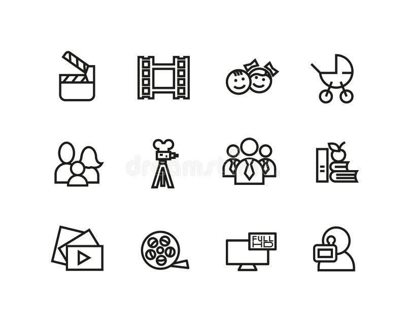 Sistema simple de la línea relacionada iconos del cine Contiene por ejemplo cámara de película, la TV, la familia, niños, el vide ilustración del vector