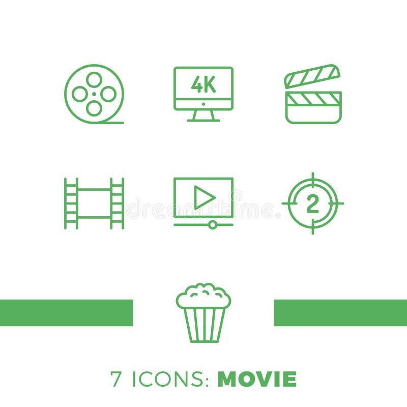 Sistema simple de la línea relacionada iconos del vector del cine Contiene los iconos tales como la película 4k, las palomitas, e stock de ilustración
