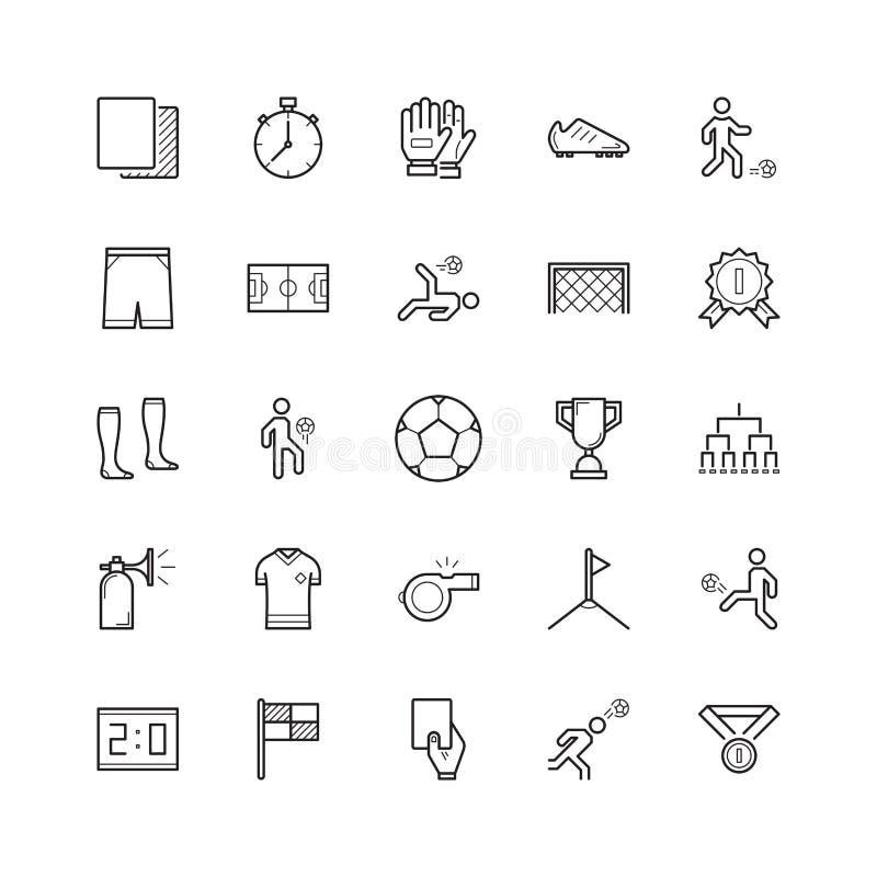 Sistema simple de la línea relacionada iconos del vector del fútbol del fútbol contenga ilustración del vector