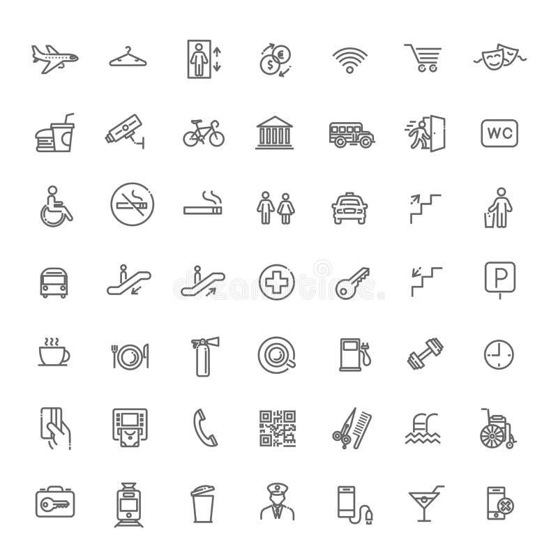 Sistema simple de la línea relacionada iconos del vector de la navegación pública libre illustration