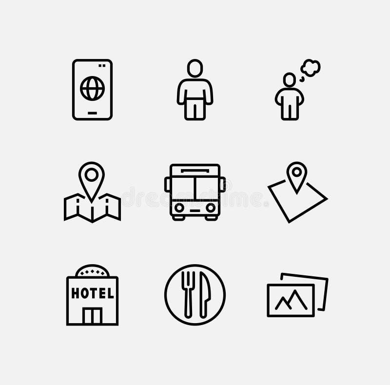 Sistema simple de la línea relacionada iconos del vector del viaje Contiene los iconos tales como el equipaje, las gafas de sol y ilustración del vector