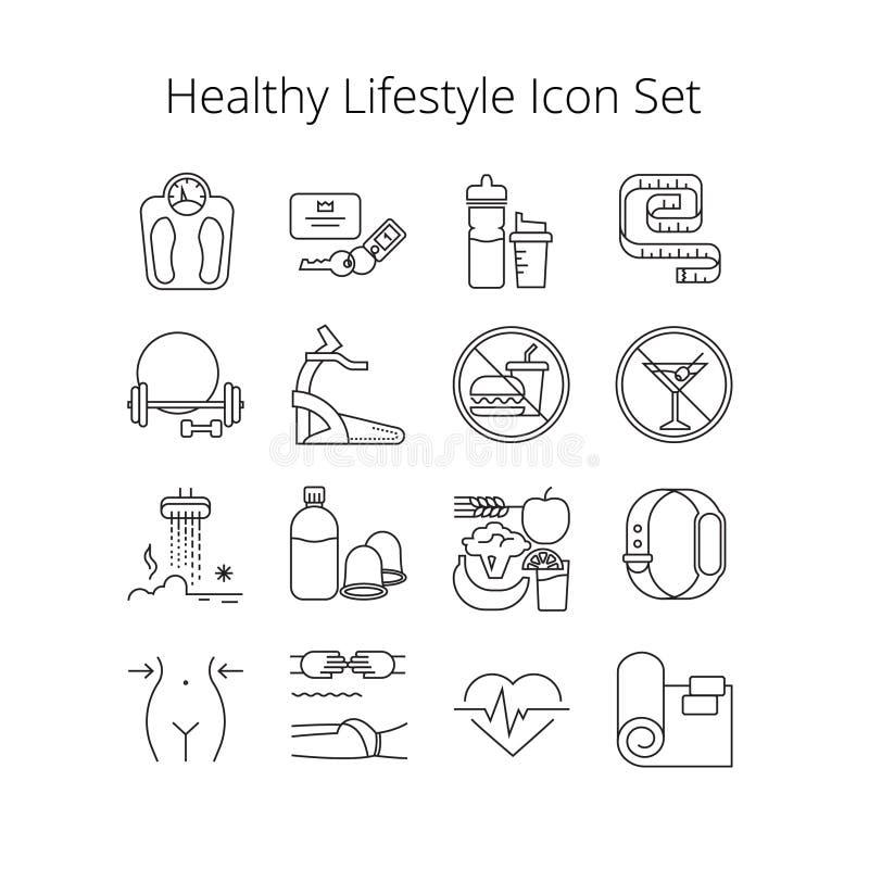 Sistema simple de la línea sana iconos del vector de la forma de vida Contiene los iconos tales que el entrenamiento, masaje, pla fotos de archivo