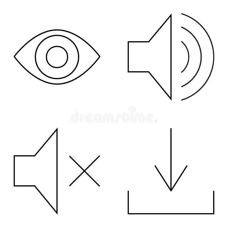 Sistema simple de la l?nea fina iconos del vector stock de ilustración