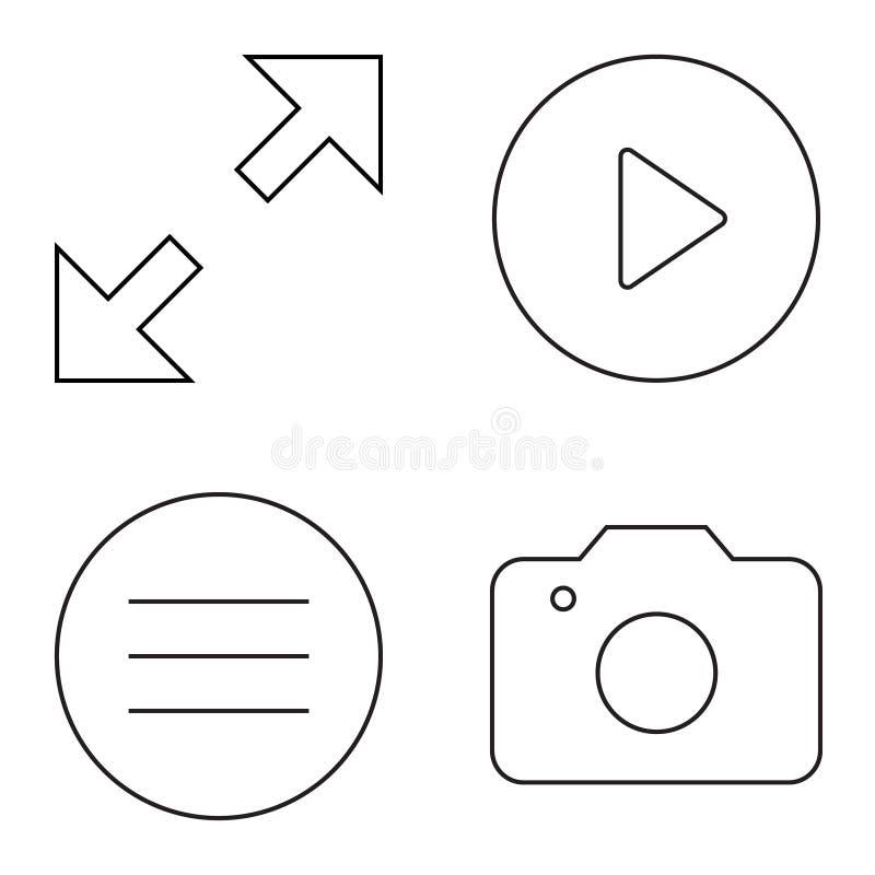 Sistema simple de la l?nea fina iconos del vector ilustración del vector