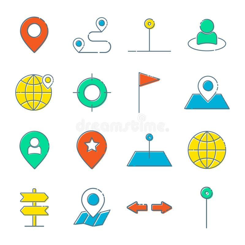 Sistema simple de la l?nea relacionada iconos del vector de la ruta Contiene los iconos tales como el mapa con un Pin, mapa de ru stock de ilustración