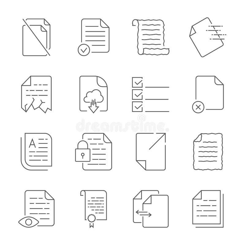 Sistema simple de los iconos del vector para el control de flujo de documentos Contiene iconos tales como un manuscrito, un fiche stock de ilustración