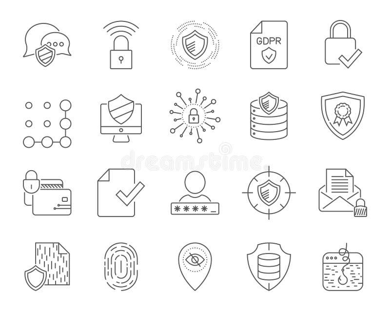 Sistema simple de los iconos de la tecnología de Internet Internet universal e iconos de SEO a utilizar en la web y UI móvil, sis stock de ilustración