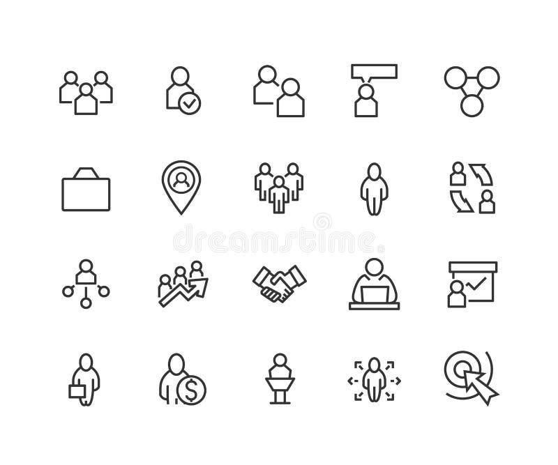Sistema simple de los iconos de Team Work Related Vector Line Contiene los iconos tales como la colaboración, la investigación, l libre illustration