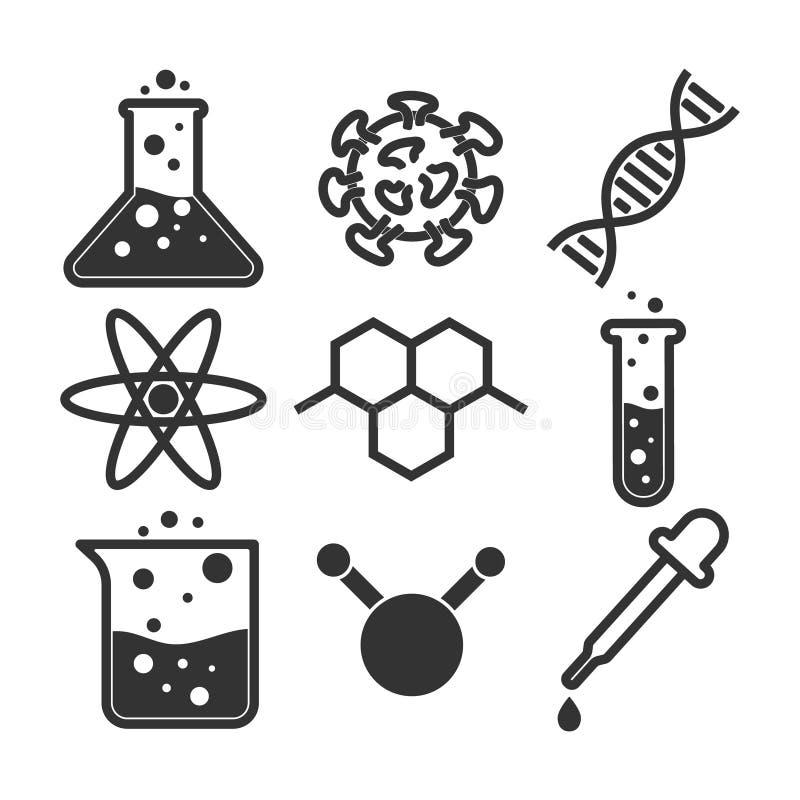 Sistema simple del icono de la ciencia, ejemplo del vector ilustración del vector