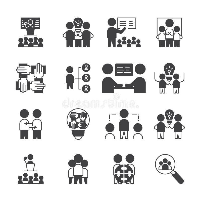 Sistema simple del icono de Team Work símbolo de la muestra del estilo del glyph del vector libre illustration