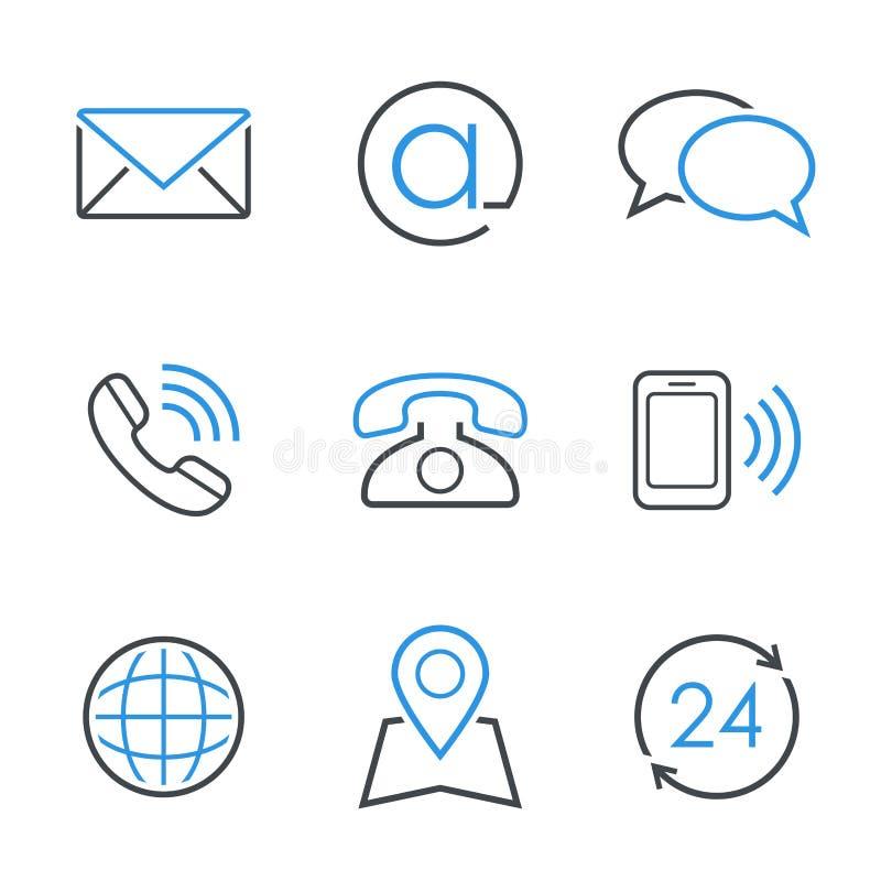 Sistema simple del icono del vector de los contactos fotos de archivo